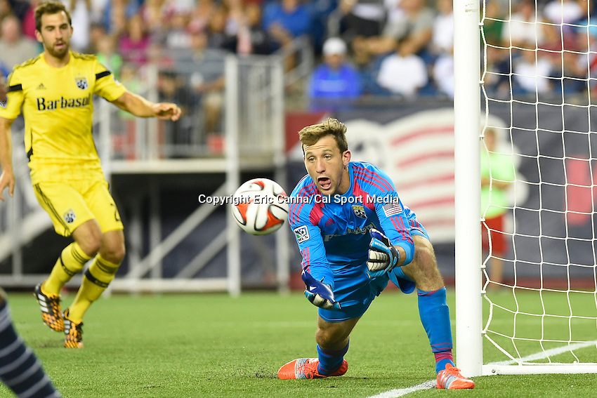 July 26, 2014 - Foxborough, Massachusetts, U.S. - Columbus Crew goalkeeper Steve Clark (1) makes a save  during the MLS game between the Columbus Crew and the New England Revolution held at Gillette Stadium in Foxborough Massachusetts. Columbus defeated New England 2-1. Eric Canha/CSM