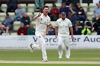 Ed Barnard of Worcestershire celebrates taking the wicket of Tom Westley during Worcestershire CCC vs Essex CCC, Specsavers County Championship Division 1 Cricket at Blackfinch New Road on 11th May 2018