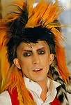 British musician Martin Degville of British punk group Sigue Sigue Sputnik.
