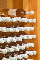 Marie-Claude. Domaine La Tour Boisee. In Laure-Minervois. Minervois. Languedoc. Bottle cellar. France. Europe. Bottle.