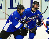 Frank Misuraca (UAH - 4), Graeme Strukoff (UAH - 2) - The Bentley University Falcons defeated the visiting University of Alabama-Huntsville Chargers 9-1 on Friday, October 26, 2012, at the John A. Ryan Skating Center in Watertown, Massachusetts.