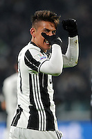 Calcio, Ottavi di finale di Tim Cup: Juventus vs Atalanta. Torino, Juventus Stadium, 11 gennaio 2017.<br /> Juventus&rsquo; Paulo Dybala, left, celebrates with teammates after scoring during the Italian Cup football round of 16 match between Juventus and Atalanta at Turin's Juventus Stadium, 8 January 2017. Juventus won 3-2 to join the quarter finals.<br /> UPDATE IMAGES PRESS/Manuela Viganti