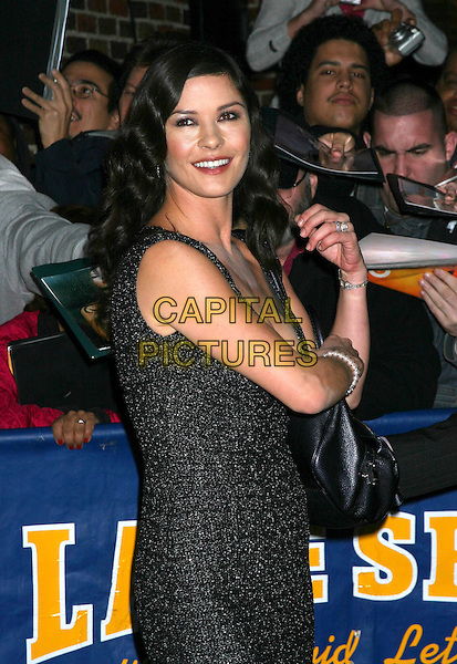 "CATHERINE ZETA-JONES.Stops by ""The Late Show With David Letterman"", Ed Sullivan Theatre, New York City..October 18th, 2005 .Ref: IW.half length black .www.capitalpictures.com.sales@capitalpictures.com.©Capital Pictures"