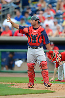 Boston Red Sox catcher Daniel Butler #61 during a Spring Training game against the Philadelphia Phillies at Bright House Field on March 24, 2013 in Clearwater, Florida.  Boston defeated Philadelphia 7-6.  (Mike Janes/Four Seam Images)