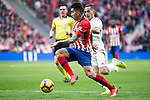 Angel Martin Correa of Atletico de Madrid and Lucas Vazquez of Real Madrid during La Liga match between Atletico de Madrid and Real Madrid at Wanda Metropolitano in Madrid Spain. February 09, 2018. (ALTERPHOTOS/Borja B.Hojas)