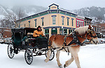 A horse carraige driver in downtown Aspen, Colorado.  © Michael Brands. 970-379-1885.