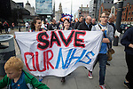 © Joel Goodman - 07973 332324 . 25/09/2016 . Liverpool , UK.  People carry a SAVE OUR NHS banner at a Save Liverpool Women's Hospital demonstration along the dockside in Liverpool , on the first day of the Labour Party Conference . Photo credit : Joel Goodman