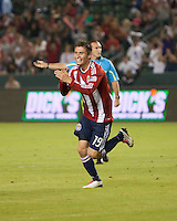 Chivas USA midfielder Jorge Flores (19) celebrates his goal during the second half of the game between Chivas USA and Toronto FC at the Home Depot Center in Carson, CA, on October 9, 2010. Final score Chivas USA 3, Toronto FC 0.