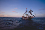 The Golden Hind, Sir Francis Drake?s historic sailing ship replica under full sail, off the US west coast at sunrise, commemorating Drake's around the world (1577-1580) Voyage of Discovery, property released,.
