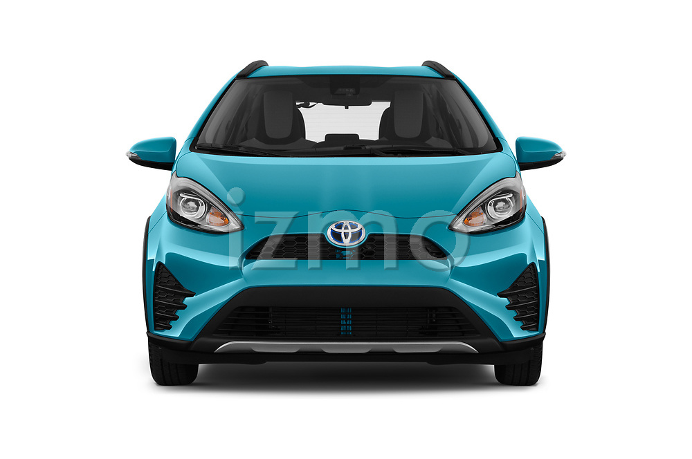 Car photography straight front view of a 2018 Toyota Prius c One 5 Door Hatchback