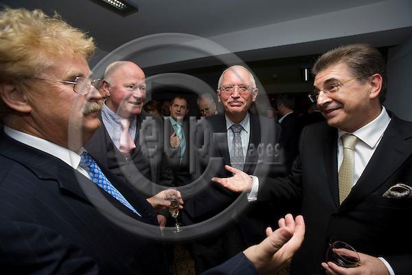 BRUSSELS - BELGIUM - 11 OCTOBER 2007 -- WAZ Media Group Brussels office inauguration reception -- From left MEP Elmar BROK (EPP-ED/DE, CDU), WAZ-Media-Berater Dirk KOCH, Günter (Guenter, Gunter) VERHEUGEN, Vice President of the EC and in charge of Enterprise and Industry, and Srgjan KERIM, UN General Assembly President. Photo: Erik Luntang/EUP-IMAGES .
