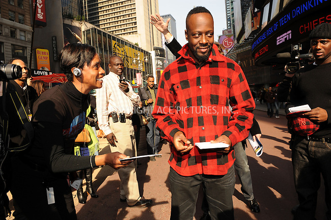 WWW.ACEPIXS.COM . . . . . ....November 9 2009, New York City....Musician Wyclef Jean promoting his holiday strategic alliance with Western Union at Western Union in Times Square on November 9, 2009 in New York City.....Please byline: KRISTIN CALLAHAN - ACEPIXS.COM.. . . . . . ..Ace Pictures, Inc:  ..tel: (212) 243 8787 or (646) 769 0430..e-mail: info@acepixs.com..web: http://www.acepixs.com
