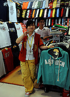 "Fake Abercombie and Fitch for sale at the silk Market. The ""Silk Market"" in Central Beijing is proving a major tourist attraction with thousands of Olympic tourists flocking there daily in order to purchase fake designer goods ranging from clothing to watches.  The Beijing authorities closed hundreds of night-clubs and introduced many restriction on and rules ahead of the 2008 Olympics in the city mysteriously has allowed the trade of fake goods to foreigners continue, thumbing their nose at western companies.<br />