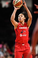 Washington, DC - July 13, 2019: Washington Mystics forward Aerial Powers (23) shoots a jump shoot during game between Las Vegas Aces and Washington Mystics at the Entertainment & Sports Arena in Washington, DC. The Aces defeated the Mystics 81-85. (Photo by Phil Peters/Media Images International)