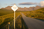 Passing place sign near Cullin Hill on the Isle of Skye Scotland.