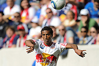 Roy Miller (7) of the New York Red Bulls on a throw in. The New York Red Bulls defeated the Philadelphia Union 2-1 during a Major League Soccer (MLS) match at Red Bull Arena in Harrison, NJ, on April 24, 2010.