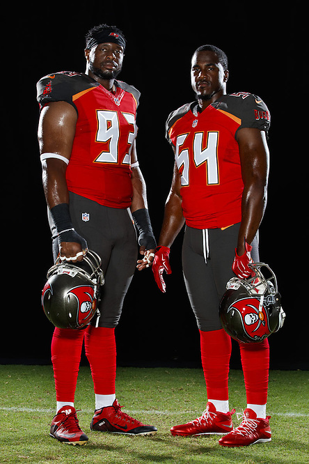 JUNE 1, 2016 - TAMPA, FLORIDA: Tampa Bay Buccaneers defenders Gerald McCoy and Lavonte David. (Photo by Matt May/Tampa Bay Buccaneers)