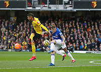 1st February 2020; Vicarage Road, Watford, Hertfordshire, England; English Premier League Football, Watford versus Everton; Lucas Digne of Everton clears the ball from Roberto Pereyra of Watford