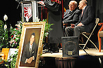 Mikhail Gorbachev, the last premier of the Soviet Union, sits beside his translator Pavel Palazchenko on stage at a ceremony to receive an honorary doctorate at Eureka College, the alma matter of President Reagan, in Eureka, Illinois on March 27, 2009.  Gorbachev called Reagan a partner whom he trusted.