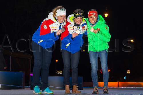 09.03.2016. Holmenkollen, Oslo, Norway. IBU Biathlon World Cup. L-R Anais Bescond of France silver medal,  Marie Dorin Habert of France gold medal,  and Laura Dahlmeier of Germany bronze medal  at the Medal Ceremony during the IBU World Championships Biathlon in Holmenkollen