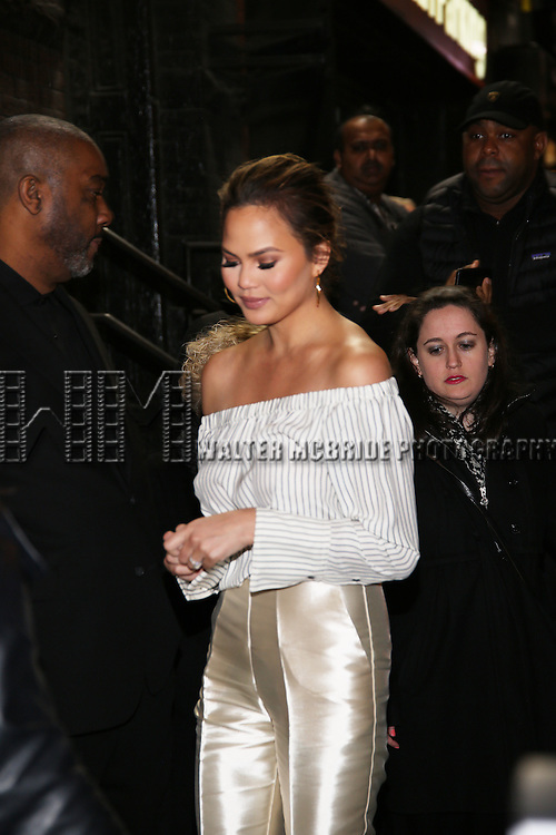 Chrissy Teigen attend the Manhattan Theatre Club's Broadway debut of August Wilson's 'Jitney' at the Samuel J. Friedman Theatre on January 19, 2017 in New York City.