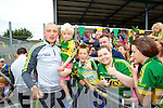 Kieran Donaghy pictured with Ruan Houlihan (Ballyduff) Dylan Cunningham (Tralee) and Orla Fitzgerald (Duagh) at Kerry GAA family day at Fitzgerald Stadium on Saturday.