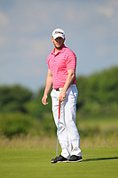 Aaron Kearney (Castlerock) on the 1st green during Round 2 of the East of Ireland Amateur Open Championship 2018 at Co. Louth Golf Club, Baltray, Co. Louth on Sunday 3rd June 2018.<br /> Picture:  Thos Caffrey / Golffile<br /> <br /> All photo usage must carry mandatory copyright credit (&copy; Golffile | Thos Caffrey)