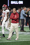 ATLANTA, GA - JANUARY 08: Head Coach Nick Saban of the Alabama Crimson Tide watches warm ups during the College Football Playoff National Championship held at Mercedes-Benz Stadium on January 8, 2018 in Atlanta, Georgia. Alabama defeated Georgia 26-23 for the national title. (Photo by Jamie Schwaberow/Getty Images)