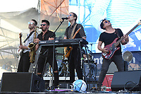 FORT LAUDERDALE BEACH, FL - DECEMBER 02: Aaron Sharp, A/J Jackson and Dak Lerdamornpong of Saint Motel perform during The Riptide Music Festival on December 2, 2017 in Fort Lauderdale Beach Florida. Credit: mpi04/MediaPunch