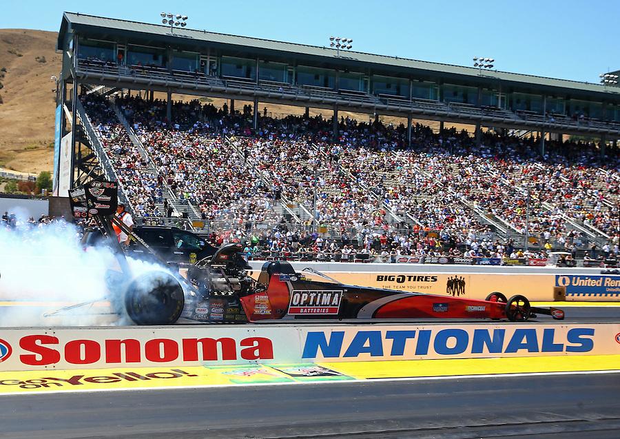 Jul. 28, 2013; Sonoma, CA, USA: NHRA top fuel dragster driver David Grubnic during the Sonoma Nationals at Sonoma Raceway. Mandatory Credit: Mark J. Rebilas-