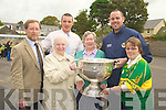 HABIT: Nuns without habits got to hold the Sam Maguire Cup at the Presentation Primary School on Thurdsday. l-R; Pat Sayers (principal), Sr Regina O'Connell, Sr Mary McMahon and Sr Celine O'Callaghan. Back l-r: Kieran Donahy and Michael Quirke ( members of the Kerry Football Victorious Team)...