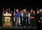 The family of Las Vegas shooting victim Austin Meyer receives his degree posthumously during the TMCC Graduation held at Lawlor Events Center in Reno, Nevada on Friday, May 11, 2018.