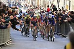 Marco Canola (Ita) Nippo-Vini Fantini-EUR.OV., Stefan K&uuml;ng (SUI) Groupama-FDJ, Pieter Serry (BEL) Deceuninck-Quick Step and Geraint Thomas (WAL) Team Sky climb Via Santa Caterina in Siena in the last km of Strade Bianche 2019 running 184km from Siena to Siena, held over the white gravel roads of Tuscany, Italy. 9th March 2019.<br /> Picture: Eoin Clarke | Cyclefile<br /> <br /> <br /> All photos usage must carry mandatory copyright credit (&copy; Cyclefile | Eoin Clarke)