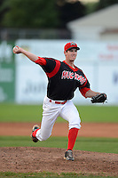 Batavia Muckdogs pitcher Brian Ellington (11) during a game against the State College Spikes on July 29, 2013 at Dwyer Stadium in Batavia, New York.  State College defeated Batavia 2-1.  (Mike Janes/Four Seam Images)