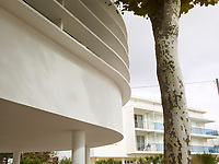 The exterior of the Yves Salier designed concrete building.