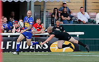 Luke Briscoe breaks free from the last tackle to score a try for Leeds during London Broncos vs Leeds Rhinos, Betfred Super League Rugby League at Trailfinders Sports Club on 1st September 2019