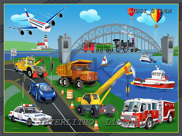 GIORDANO, TEENAGERS, JUGENDLICHE, JÓVENES, paintings+++++,USGI2714M,#J#,harbour,police,firebrigade,construction ,puzzle ,everyday