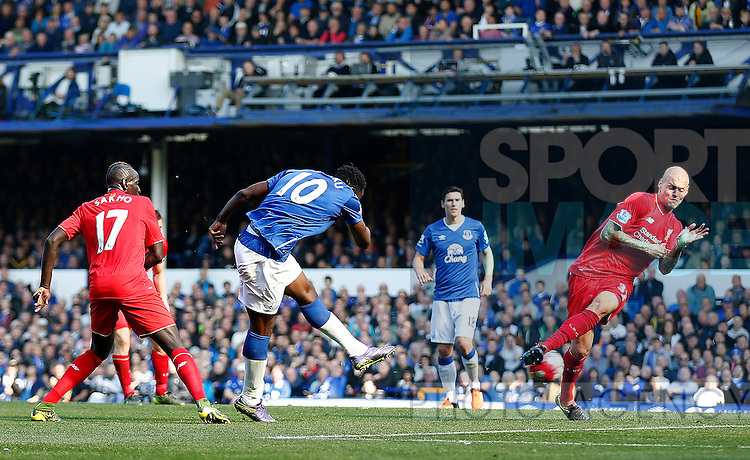 Romelu Lukaku of Everton turns and shoots past Martin Skrtel of Liverpool to score the equalising goal - English Premier League - Everton vs Liverpool - Goodison Park Stadium - Liverpool - England - 04th October 2015 - Picture Simon Bellis/Sportimage