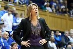 19 December 2013: Albany head coach Katie Abrahamson-Henderson. The Duke University Blue Devils played the University at Albany, The State University of New York Great Danes at Cameron Indoor Stadium in Durham, North Carolina in a 2013-14 NCAA Division I Women's Basketball game. Duke won the game 80-51.
