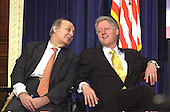 Former White House Press Secretary James S. Brady and United States President Bill Clinton share a light moment at an event commemorating the 7th anniversary of the Brady Law at the White House in Washington, D.C. on November 30, 2000.  They called on Congress to strengthen enforcement of this landmark legislation.  Brady Passed away on Monday, August 4, 2014.<br /> Credit: Ron Sachs / CNP