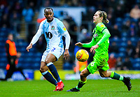 Blackburn Rovers' Ryan Nyambe takes on Norwich City's Todd Cantwell<br /> <br /> Photographer Alex Dodd/CameraSport<br /> <br /> The EFL Sky Bet Championship - Blackburn Rovers v Norwich City - Saturday 22nd December 2018 - Ewood Park - Blackburn<br /> <br /> World Copyright © 2018 CameraSport. All rights reserved. 43 Linden Ave. Countesthorpe. Leicester. England. LE8 5PG - Tel: +44 (0) 116 277 4147 - admin@camerasport.com - www.camerasport.com