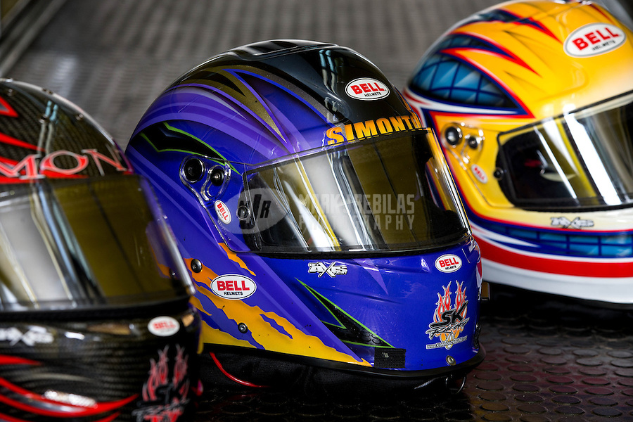 Aug. 30, 2013; Clermont, IN, USA: Helmet of NHRA top alcohol funny car driver Cassie Simonton during qualifying for the US Nationals at Lucas Oil Raceway. Mandatory Credit: Mark J. Rebilas-USA TODAY Sports