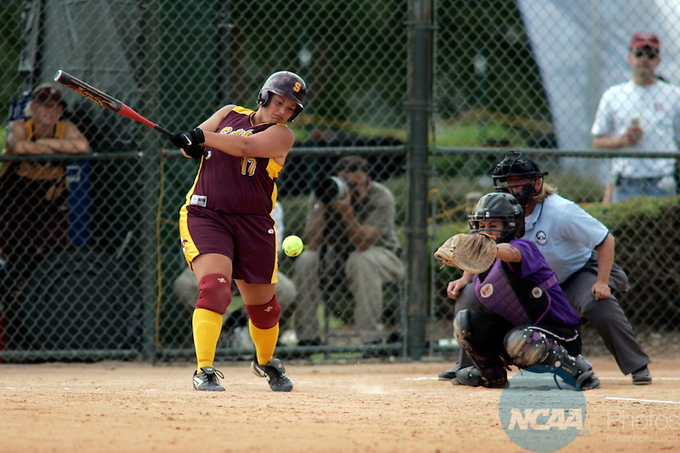 23 MAY 2005:  Erin Ruest (17) of the Salisbury University Seagulls in action against the University of St. Thomas Tommies during the NCAA Division III Women's Softball Championship hosted by Peace College and held at the Walnut Creek Softball Complex in Raleigh, N.C. St. Thomas defeated Salisbury 9-3. Grant Halverson/NCAA Photos.