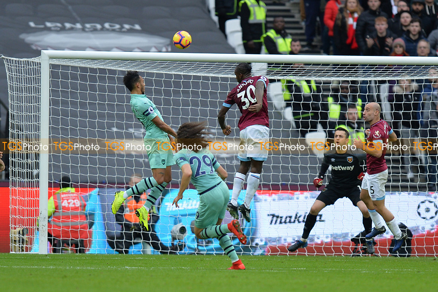 Alexandre Lacazetten of Arsenal heads over during West Ham United vs Arsenal, Premier League Football at The London Stadium on 12th January 2019