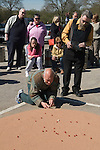 World Champion Marbles Championship Good Friday Tinsley Green Sussex UK. Played outside the Greyhound pub.
