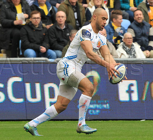 09.04.2016. Ricoh Arena, Coventry, England. European Champions Cup. Wasps versus Exeter Chiefs.  Extents Olly Woodburn in action.
