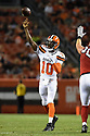 CLEVELAND, OH - AUGUST 18, 2016: Quarterback Robert Griffin III #10 of the Cleveland Browns throws a touchdown pass to tight end Gary Barnidge #82 in the second quarter of a preseason game on August 18, 2016 against the Atlanta Falcons at FirstEnergy Stadium in Cleveland, Ohio. Atlanta won 24-13. (Photo by: 2016 Nick Cammett/Diamond Images) *** Local Caption *** Robert Griffin III