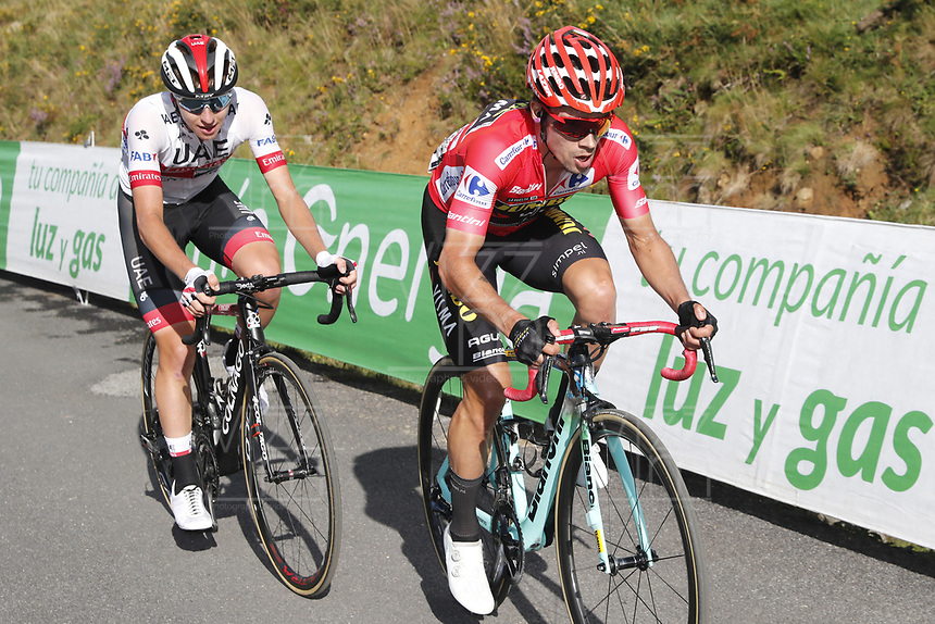 ESPAÑA, 06-09-2019: Primoz Roglic (SLO - YUMBO VISMA) con el maillot rojo líder durante la etapa 13, hoy, 06 de septiembre de 2019, que se corrió entre Bilbao y Los Machucos. Monumento Vaca Pasiega con una distancia de 166,4 km como parte de La Vuelta a España 2019 que se disputa entre el 24/08 y el 15/09/2019 en territorio español. / Primoz Roglic (SLO - YUMBO VISMA) with the red leader jersey during the stage 13 today, September 06, 2019, from Bilbao to Los Machucos. Monumento Vaca Pasiega with a distance of 166,4 km as part of Tour of Spain 2019 which takes place between 08/24 and 09/15/2019 in Spain.  Photo: VizzorImage / Luis Angel Gomez / ASO.  Photo: VizzorImage / Luis Angel Gomez / ASO.  Photo: VizzorImage / Luis Angel Gomez / ASO<br /> VizzorImage PROVIDES THE ACCESS TO THIS PHOTOGRAPH ONLY AS A PRESS AND EDITORIAL SERVICE AND NOT IS THE OWNER OF COPYRIGHT; ANOTHER USE HAVE ADDITIONAL PERMITS AND IS  REPONSABILITY OF THE END USER