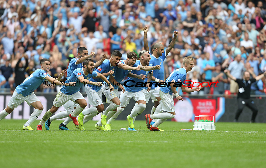 Manchester City celebrate their penalty shoot-out win<br /> <br /> Photographer Rob Newell/CameraSport<br /> <br /> The FA Community Shield - Liverpool v Manchester City - Sunday 4th August 2019  - Wembley Stadium - London<br /> <br /> World Copyright © 2019 CameraSport. All rights reserved. 43 Linden Ave. Countesthorpe. Leicester. England. LE8 5PG - Tel: +44 (0) 116 277 4147 - admin@camerasport.com - www.camerasport.com