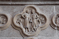Gemini, detail of the signs of the Zodiac, Saint Firmin's portal, Amiens Cathedral, 13th century, Amiens, Somme, Picardie, France. Picture by Manuel Cohen
